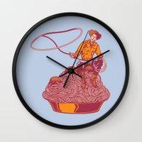 western Wall Clocks featuring Spaghetti Western by Tom Burns