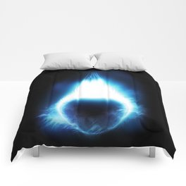 An outer space background with a dark planet and sky.  Comforters