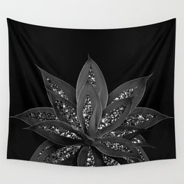Gray Black Agave with Black Silver Glitter #2 #shiny #tropical #decor #art #society6 Wall Tapestry