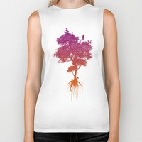 splatter Biker Tanks featuring Splatter Tree by CoryFreemanDesign