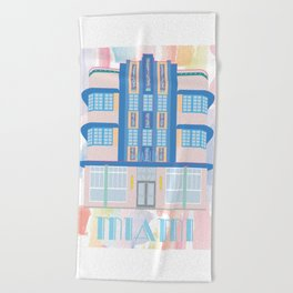 Miami Landmarks - Marlin Beach Towel