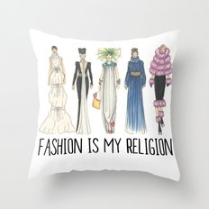 Fashion is My Religion (PaperDolls, Color) Throw Pillow