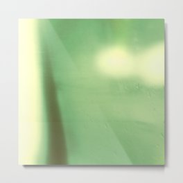 Watery Green Abstract Landscape, Modern Bokeh, Photography Collage, Minimalist Horizon Metal Print