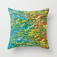 army Throw Pillows featuring Squid Army by Itsybats