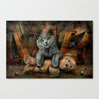 kpop Canvas Prints featuring Cat Diesel with teddybear ! by teddynash
