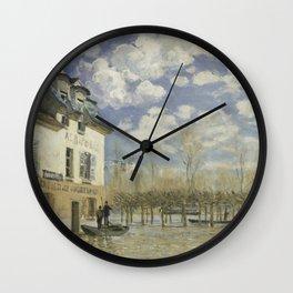 Alfred Sisley - Flood at Port-Marly, 1876 Wall Clock