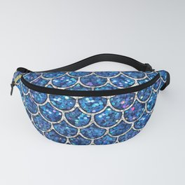 Sparkly Blue & Silver Glitter Mermaid Scales Fanny Pack