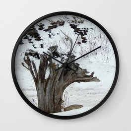 Stumpy and the Rock Wall in Winter White Wall Clock