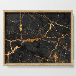 Black Malachite Marble With Gold Veins Serving Tray