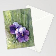 Purple Pansies Watercolor Flowers Painting Violet Floral Art Stationery Cards