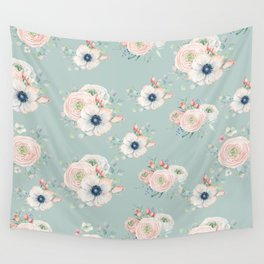 Dog Rose Pattern Mint Wall Tapestry