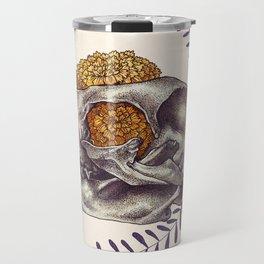 Inktober Cat Skull Travel Mug