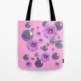 PINK-PURPLE FLOATING HOLLYHOCKS & SOAP BUBBLES PINK  ART Tote Bag