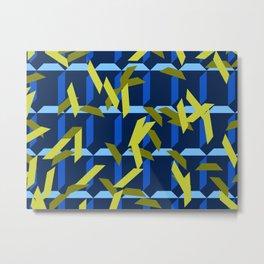 trapezoids grid pattern_navy Metal Print