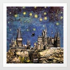 Hogwarts Starry Night Art Print
