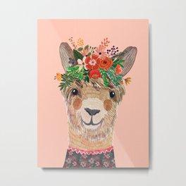 Llama with Flower Crown by Mia Charro Metal Print