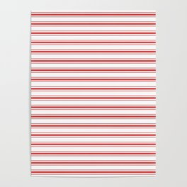 Mattress Ticking Wide Striped Pattern in Red and White Poster