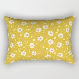 Tiny Pastel Mustard Daisies Rectangular Pillow