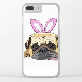 Happy Easter - Pug Bunny Clear iPhone Case