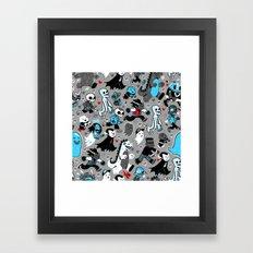 Monster March (Gray) Framed Art Print