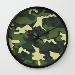 Army Green Camouflage Camo Pattern Wall Clock