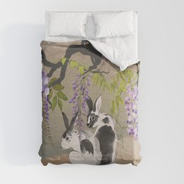 Two Rabbits Under Wisteria Tree Comforters