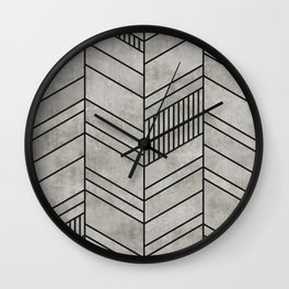 Concrete Chevron Pattern Wall Clock