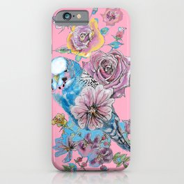 Blue Budgie and Roses Watercolor on Pink iPhone Case