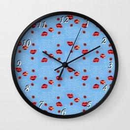 Poppies and polka dot Wall Clock