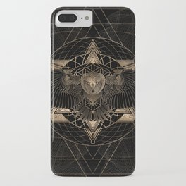 Owl in Sacred Geometry Composition - Black and Gold iPhone Case