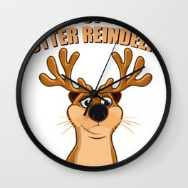 Otter Reindeer Funny Christmas Nature Gift Wall Clock