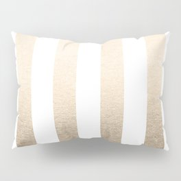 Simply Vertical Stripes in White Gold Sands Pillow Sham