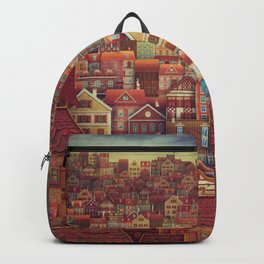 Cute City Street Scene ,Many Houses Backpack