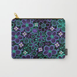 Funky 90s Glow Black Purple Floral Pattern Carry-All Pouch