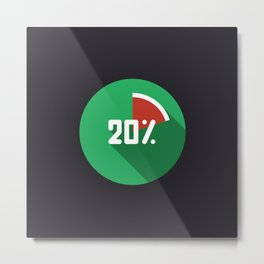"Illustration ""percentage - 20%"" with long shadow in new modern flat desig Metal Print"