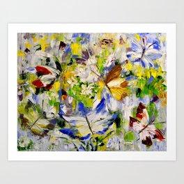 Butterflies in flowers Art Print