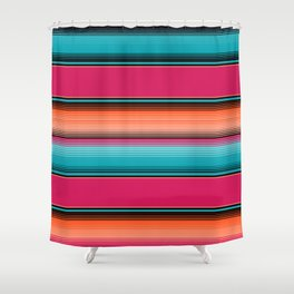 Traditional Mexican Serape in Teal Shower Curtain