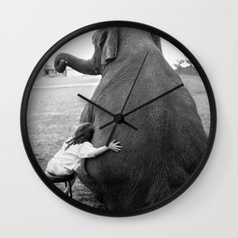 Odd Best Friends, Sweet Little Girl hugging elephant black and white photograph Wall Clock