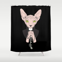 Let Us Prey Sphynx Cat Shower Curtain
