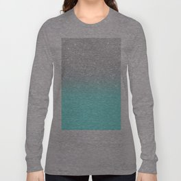 Modern girly faux silver glitter ombre teal ocean color bock Long Sleeve T-shirt