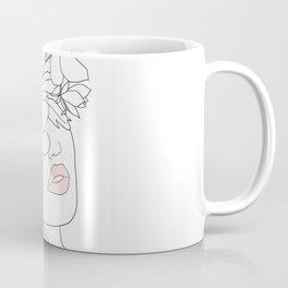 Minimal Line Art Woman with Magnolia Coffee Mug