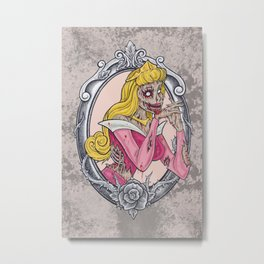 Zombie Sleeping Beauty Metal Print
