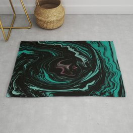 Pink, Teal, Turquoise and Black Abstract Art, Digital Fluid Art Blend Rug