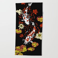 FALLING FISHES Beach Towel