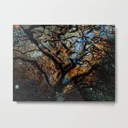 Mystic Tree of Knowledge Blue Brown Metal Print