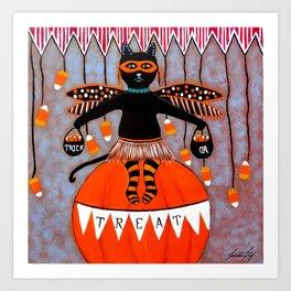 Circus Kitty Trick or Treat Halloween Art Print