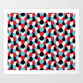 Catchy Artistic Pattern from Brush Blots in Black, White, Red and Blue Art Print