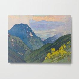 Otenjo Mountaine Alps Vintage Beautiful Japanese Woodblock Print Hiroshi Yoshida Metal Print