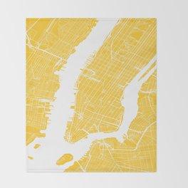 Yellow City Map of New York, USA Throw Blanket
