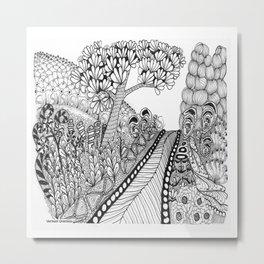 Zentangle Illustration - Road Trip Metal Print